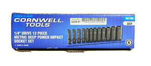 Cornwell Tools 12 Pc 1 4 Dr Metric Impact Socket Set 6 Point 5 15mm