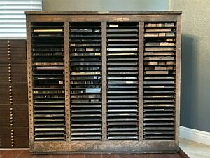 Antique American Type Founders Letterpress Galley Cabinet W 75 Galley Trays