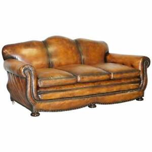 Very Rare Fully Restored Gentleman S Club Moustache Back Brown Leather Sofa