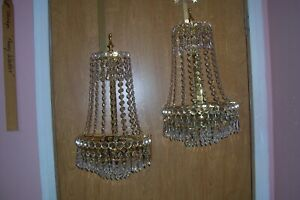 Pair Crystal Midcentury 6 Tiers Wall Sconces Spain L E57