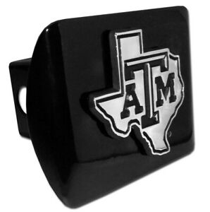 Texas A M State Shape Emblem On Black Metal Hitch Cover