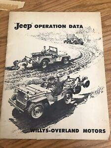 Willys Jeep Cj2a Operation Data Booklet Original Dealer Card Attached