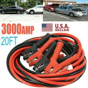Booster Cables 3000amp 0 Gauge Jumper Leads 20ft Heavy Duty Car Van Clamps Start