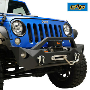 Eag Front Bumper W Fog Light Holes Winch Plate Fit For 07 18 Jeep Wrangler Jk