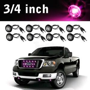 8pcs 3 4 Pink Purple Led Clearance Side Marker Lights Boats Pickup Clear Lens