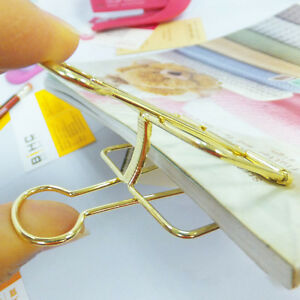 Brand New 18pcs School Office Stationery Binders Clips File Paper Clip Gold Tone