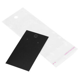 100 Pcs Black Earring Display Cards With Self Adhesive Bags Jewelry Accessories
