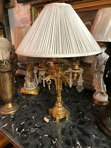 Fine Antique Petite French Neoclassic Jeweled Cherub Lamp Austrian Crystals1920