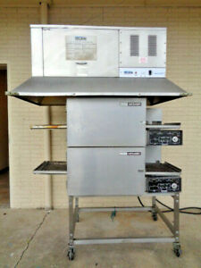 Lincoln Impinger 1132 Conveyor Double Deck Stack Pizza Oven With Ventless Hood