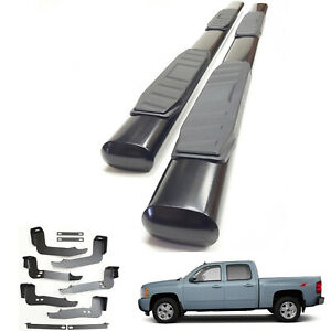 5 Oval Black Side Step Bar For 1999 2013 Chevy Silverado Gmc Sierra Crew Cab 4d