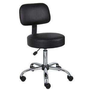 Boss Black Caressoft Drafting Chair Back Cushion Faux Leather Seat Furniture