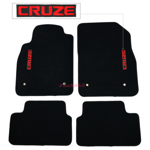 Fits 08 16 Chevrolet Cruze Black Nylon Floor Mats Carpet W Red Cruze Embroidery