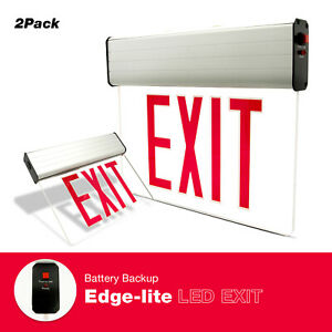 Red Led Emergency Exit Sign Lighting Glass Panel