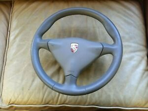 Porsche 996 Boxster Steering Wheel Grey Leather 6 Speed Manual 97 05