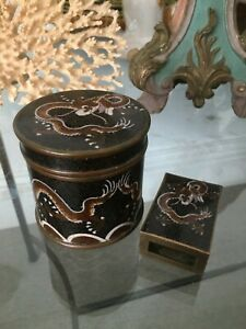 Early 20thc Cloisonne On Bronze Opium Smokers Set Cylindrical Box Match Tidy
