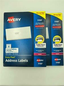 New 6 000 Avery 5160 Easy Peel White Address Labels 2 Boxes Of 3 000 Each
