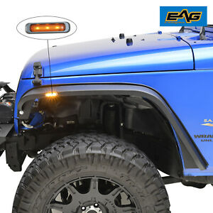 Eag Fits 07 18 Jeep Wrangler Jk Steel Led Front 2pc Ultra Stubby Fender Flares