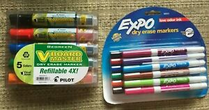 Expo Low Odor Dry Erase 12 Colored Markers 6 Begreen Board Master Markers