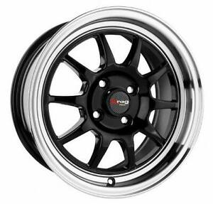 17 4x100 Dr16 Black Wheel Rims Acura Integra Crx Daewoo