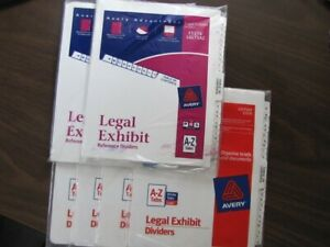 Legal Exhibit Reference Dividers Lot Of 6 Packages A z Tabs Lgltsaz 11374
