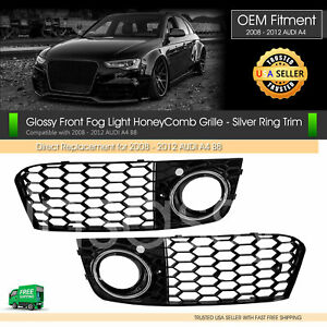 Rs4 Style Audi Honeycomb Hex Fog Light Mesh Vent Grill Silver Gloss Black A4 B8