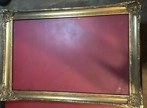 Old Vintage Wood Carved Ornate Picture Frame Large Wooden For Painting Gesso