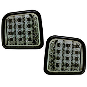 Smoked Led Front Park Signal Light Set For 06 09 H3 Hummer Hu2530100 Hu2531100