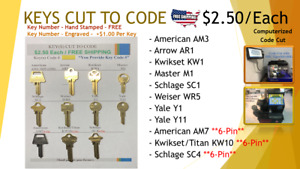 Key Cut To Code Multiple Key Types Cut By Locksmith Free Shipping