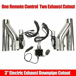 2x 3 76mm Electric Exhaust Downpipe E Cut Out Valve One Controller Remote Kit