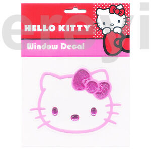 Hello Kitty Pink Face Bling Bow Decal Car Auto Cute Sanrio Anime Cat Sticker New
