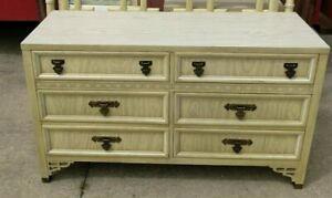 High End Vintage Shangri La Dixie Faux Bamboo Double Dresser