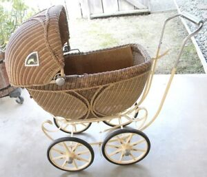 Vintage 1920s Lloyd Loom Wicker Baby Stroller Carriage With Hood Extra Nice