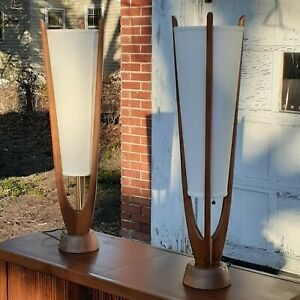 Large Pair Mid Century Modern Walnut Lamps Atomic Danish Wood Mcm Retro Lighting
