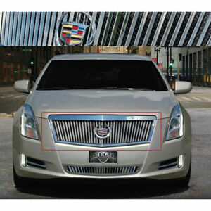 Silver Vertical W Black Mesh Backing Upper Grille Fits 2013 2015 Cadillac Xts
