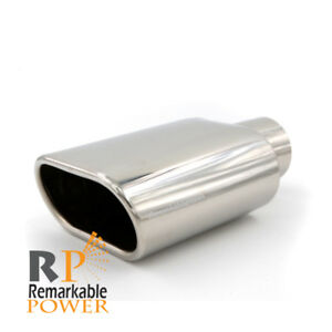 Inlet 2 5 5 5 x3 9 Length Stainless Steel Rolled Edge Oval Exhaust Tip