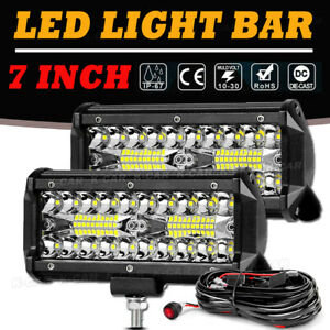 7inch 800w Led Work Light Bar Flood Spot Combo Bumper Fog Lamp Offroad Driving 6