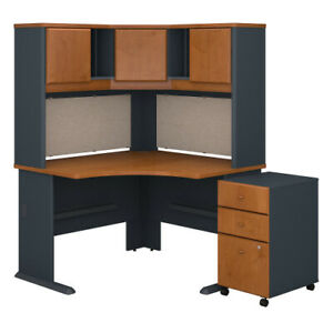 Corner Desk With Hutch And 3 Drawer Mobile Ped Bshsra040ncsu