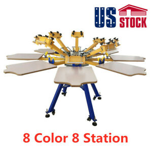 Us Stock 8 Color 8 Station Silk Screen Printing Machine Screening Equipment