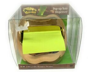 Post it Gold Apple Pop up Note Weighted Dispenser For 3 X 3 inch Notes
