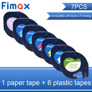 91331 91332 91333 91334 91335 Compatible Dymo Letratag Plastic Tape Refill 12mm