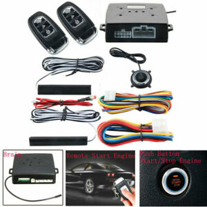 Pke Passive Keyless Entry Push button Remote Engines Start Stop Alarm System Kit