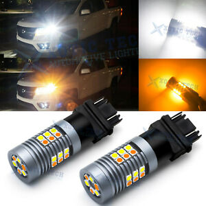 2x 3057 3157 White Amber Switchback Led Turn Signal Light Bulbs For Chevrolet