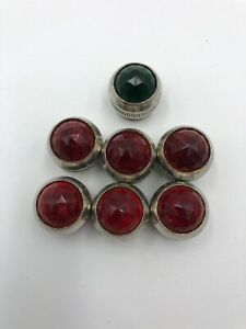 Vintage Red Glass Dome Lens Instrument Panel Marker Lamp 7 Total Red Green
