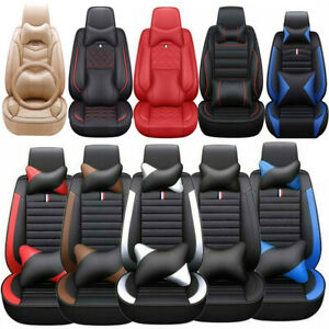 11 Universal Car Seat Covers 5 Sit Pu Leather Front Rear Cushion Accessorie Set