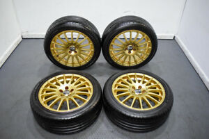 Used Clean Jdm 5x100 17x7 5 Oz Racing Gt Evo 16 Spoke Wheels In Gold Fits Subaru