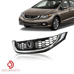 Fit Honda Civic 2013 2014 2015 Seden Front Upper Grille With Chrome Molding