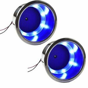 2x Blue Led Cup Holder Stainless Steel For Boat Yacht Car Apartment Truck Rv