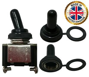 100 Universal Black Rubber Threaded Splash Proof Toggle Switch Cover Uk Made