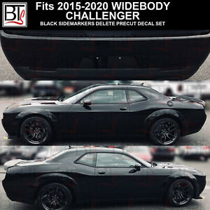 Black Widebody Side Marker Reflectors Overlays Precut Tint Front Rear Challenger