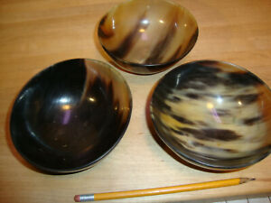 3 Stunning Chinese Old Ox Horn Carving Bowl Lot Of 3